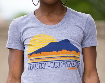 Womens tshirt Burlington Vermont vintage inspired sunset tee
