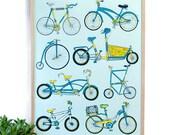 Bike Art screen printed poster bike lovers wall art home decor silkscreen print