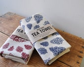 Pinecone tea towel SET of two kitchen towels screen print nature art foodie gift for mom housewarming gift