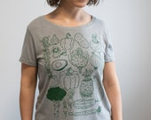 Vegetables Womens relaxed fit shirt scoop neck ladies tee farmers market avocado art