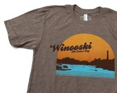 Winooski Vermont shirt screenprinted tee vintage inspired USA made BROWN