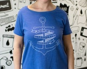 Lake Champlain Anchor Womens relaxed fit shirt scoop neck ladies tee sailing boat vermont art