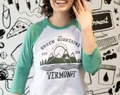 Green Mountain Baseball Tee adult shirt USA made long sleeve