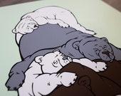 Sleepy Bear Pile Screenprint - animal art bear print nursery wall decor polar bear silkscreen poster