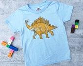 Dinosaur Kids shirt screenprint t-shirt dino childrens tee stegosaurus art