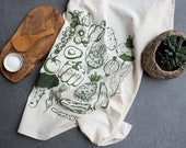 Vegetables tea towel kitchen towel housewarming gift bar towel garden lover vegan