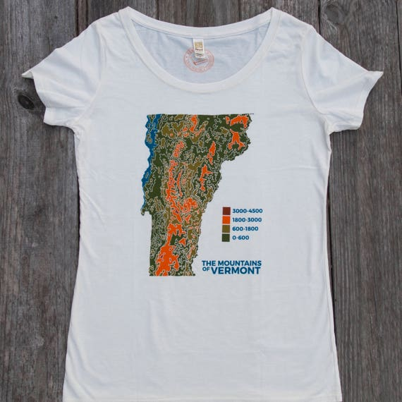 USA made Vermont Topo Map shirt screen printed tee womens | Etsy