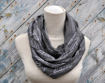 Grey Feather circle scarf infinity scarf neckwarmer cowl screenprinted fabric organic cotton