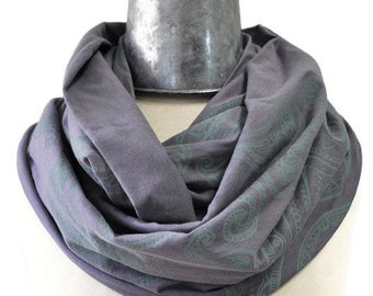SALE Infinity scarf Screenprinted paisley design Organic cotton bamboo fabric