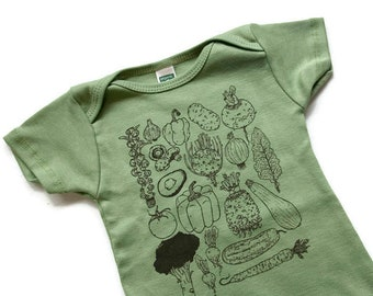 VEGGIE Baby clothes screenprinted bodysuit Vegetable baby gift baby shower