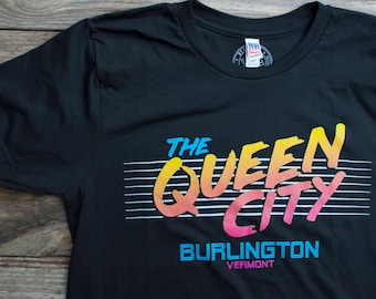 Queen City Tshirt Mens shirt Burlington Vermont 80's inspired