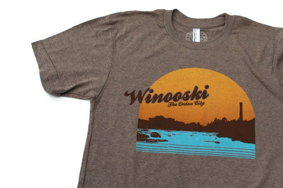 c6dcf3d11c7d3 Winooski Vermont shirt screenprinted tee vintage inspired USA made BROWN