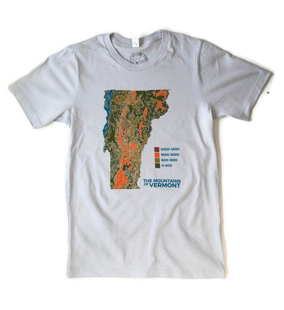 VERMONT Topo Map shirt screenprinted tee 100% cotton mens | Etsy