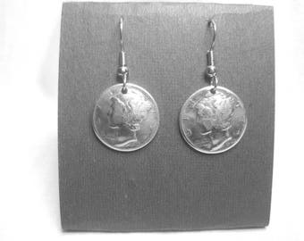 Antique silver Mercury dime earrings-domed-history!