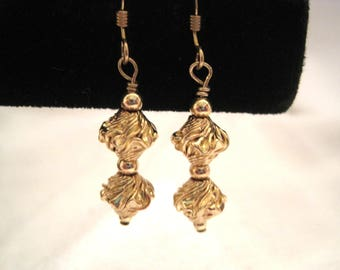 Handcrafted 14 karat gold filled earrings-unusual twisted corrugated beads