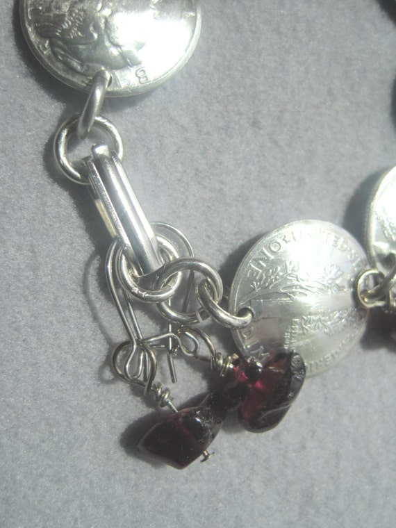 """Silver Mercury dime linked necklace~nicely domed all face-18/"""""""