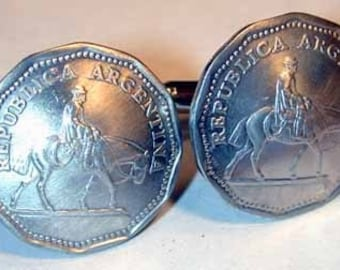 Coin Jewelry-Argentina Cowboy Cufflinks-free shipping