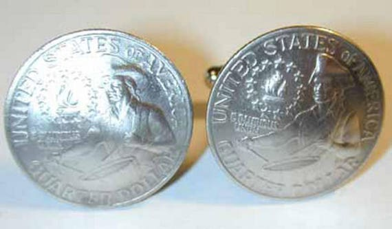 Bicentennial quarter cuff links-nicely domed