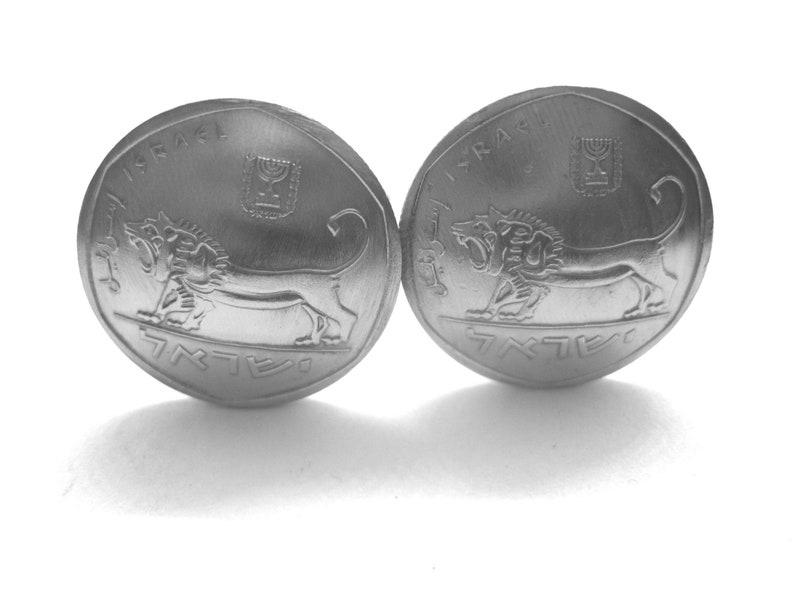 Fierce Israeli lion antique coin cuff links