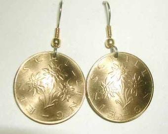 golden Austrian Edelweiss earrings-nicely domed-free shipping