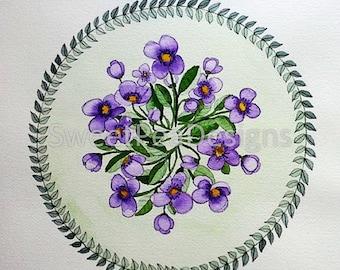 Violets Mandala watercolor original painting
