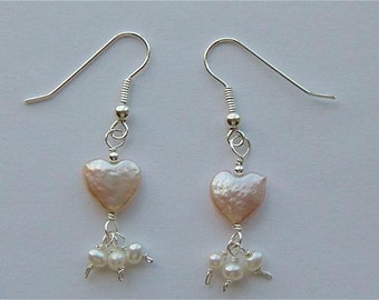 FelicityAnn Blush Heart Fresh-Water Pearls and Sterling Silver Earrings