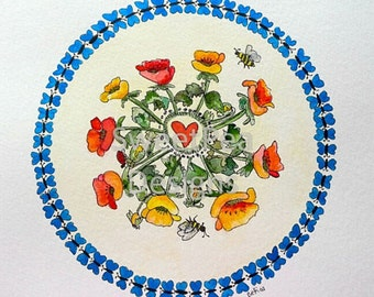 Poppies and Butterflies Mandala watercolor and ink original painting