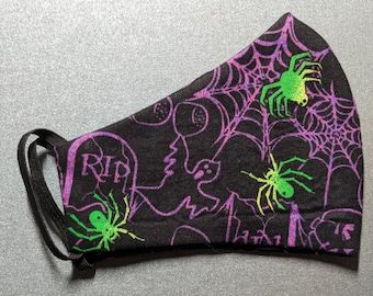 Ready to Ship - Spiders and Ghosts -  Size Small - Olsen style face mask