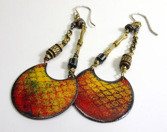 Red and Yellow Snake Skin Enamel Earring Drops