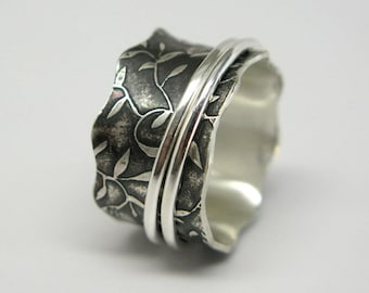 Leaf Pattern Sterling Silver Spinner Ring with Two Sterling Spinners Size 6
