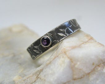 Leaf Pattern Stacking Ring with Faceted Amethyst - Ready to Ship - Size 9 1/2