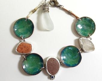 Sea Green Enamel and Beach Stone Bracelet