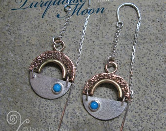 Turquoise Moon Threaded Earrings - Ready to Ship
