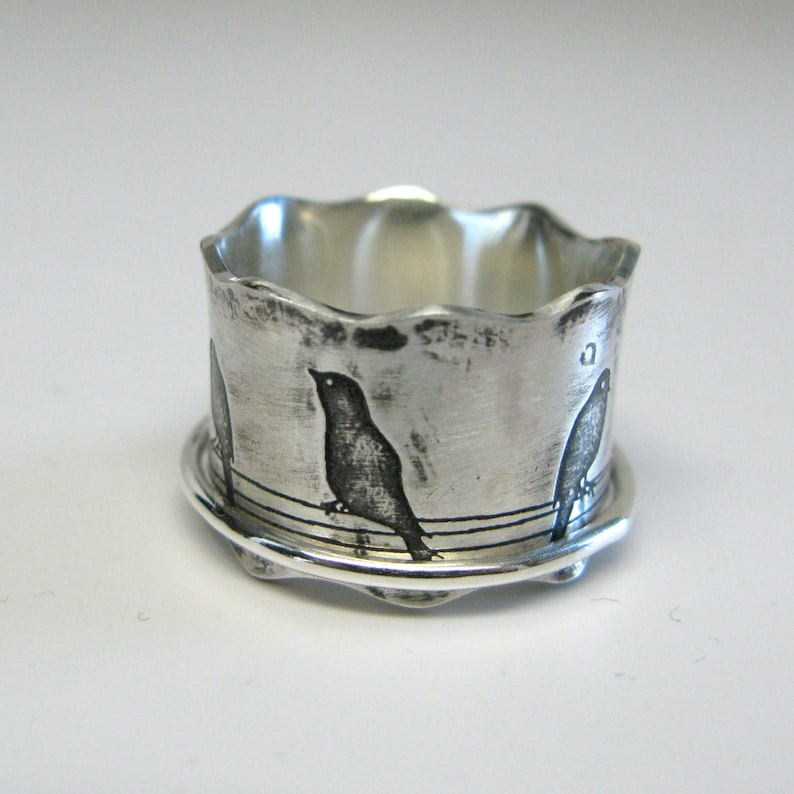 Birds on a Wire Sterling Silver Spinner Ring image 0