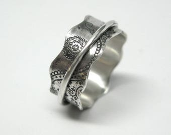 Paisley Sterling Silver Spinner Ring - 8mm wide - Size 7