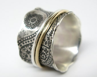 Paisley Vintage Inspired Sterling Silver and 10k Gold Spinner Ring - Size 7