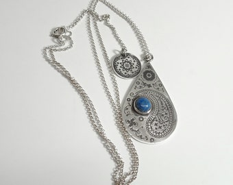 Recycled Sterling Silver Paisley Teardrop Necklace with Denim Lapis Lazuli