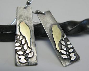 Birds in a Tree Sterling and Brass Earrings