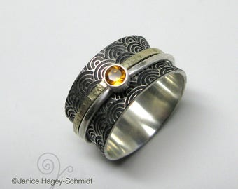 Asian Inspired Water Pattern Sterling Silver and 10k Gold Spinner Ring with Citrine Stone Size 7 1/2