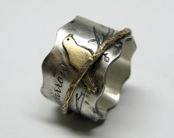 Birds on a Branch Spinner Ring in Sterling with Sterling, Copper or Brass Details and Custom Quote