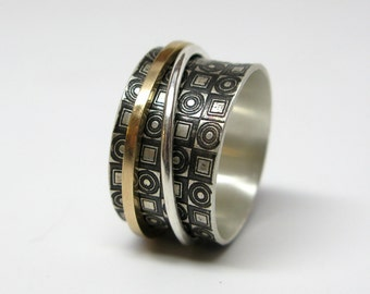 Modern Concentric Circles and Squares Sterling Silver & 14k Gold Spinner Ring