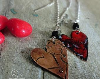 Red, Black and White Splashed Enamel Hearts Threaded Earrings