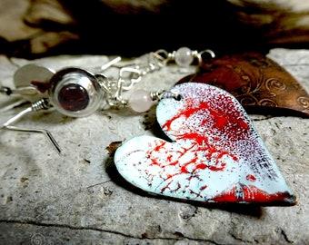 Enamel Heart Earrings with Garnets
