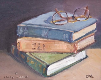 "Oil painting of Old Books and Glasses ""Old Books"""