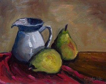 Original Still Life of Pears and Pitcher