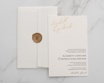 Lizz and Patrick's Foil and Letterpress Wedding Invitation - SAMPLE
