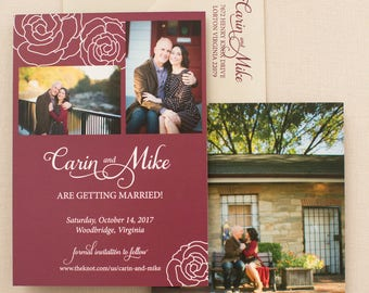 Photo Save the Date and Laser Cut Invitation - SAMPLE - roses