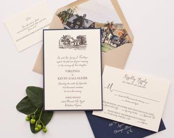 Custom Letterpress Wedding Invitation Virginia & Kevin's Wooden Tag- SAMPLE