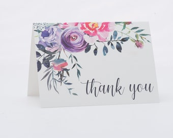 Bold Floral Thank You Note Card Set with optional gold foil stamping