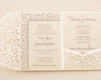 Wedding Invitation - SAMPLE - floral laser cut folio roses